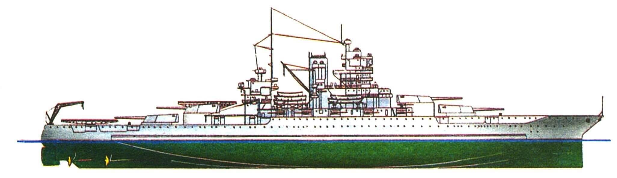 211.Линейный корабль «МИССИСИПИ», США, 1917/1936 г. Водоизмещение стандартное 33400 т, полное 40770 т, длина максимальная 182,9 м, ширина с булями 32,4 м, осадка 9,4 м. Мощность четырехвальной турбинной установки 40000 л.с., скорость 21,5 уз. Броня: пояс до 343 мм, башни до 457 мм, палубы до 140 мм, рубка 406 мм. Вооружение: по двенадцать 356-мм и 127-мм орудий, восемь 76-мм зенитных пушек, двенадцать 28-мм зенитных автоматов. Внешний вид корабля показан по состоянию на 1936 г. Аналогичным образом модернизированы однотипные «Нью-Мексико» и «Айдахо».