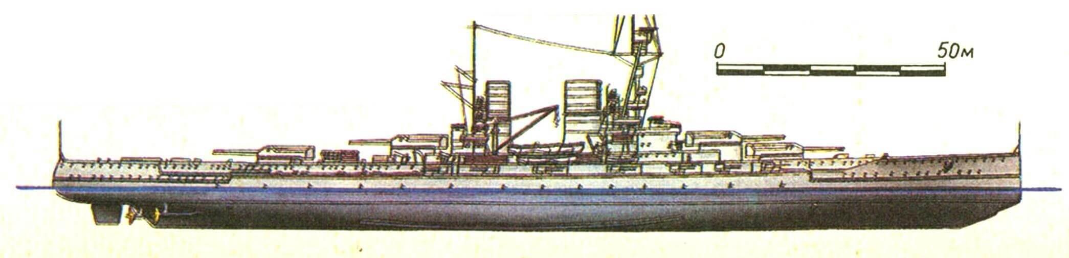 206. Линейный крейсер «МАКЕНЗЕН», Германия (проект). Заложен в 1915 г., спущен на воду в 1917 г. Водоизмещение нормальное 30500 т, полное 35500 т, длина максимальная 223 м, ширина 30,4 м, осадка 8,4 м. Мощность четырехвапьной турбинной установки 90000 л.с., скорость 28 уз. Броня: главный пояс 300 мм, в оконечностях —1 20—100 мм, верхний пояс 250 мм; казематы 150 мм, башни 320, барбеты 290 мм, палубы: 25+60...30 мм, рубка 350 мм. Вооружение: восемь 350-мм и двенадцать 150-мм орудий, восемь 88-мм зениток. Всего заложено 4 корабля, из них спущены на воду только 2: «Макензен» и «Граф Шпее» (оба в 1917 г.).