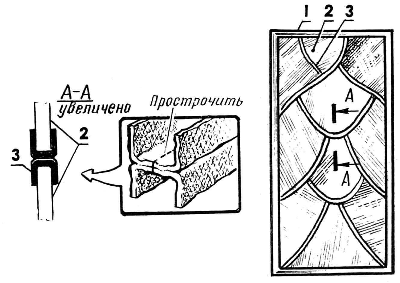 Витраж без металла: 1 — рама витража, 2 — стеклянная заготовка, 3 — «шов» из тесьмы и эпоксидки.