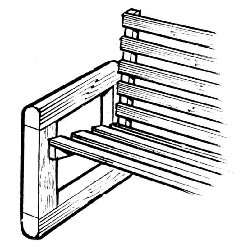 Рис. 2. Решетчатый вариант решения спинки и сиденья (из бруса сечением 30x40 мм и длинной 1400 мм).
