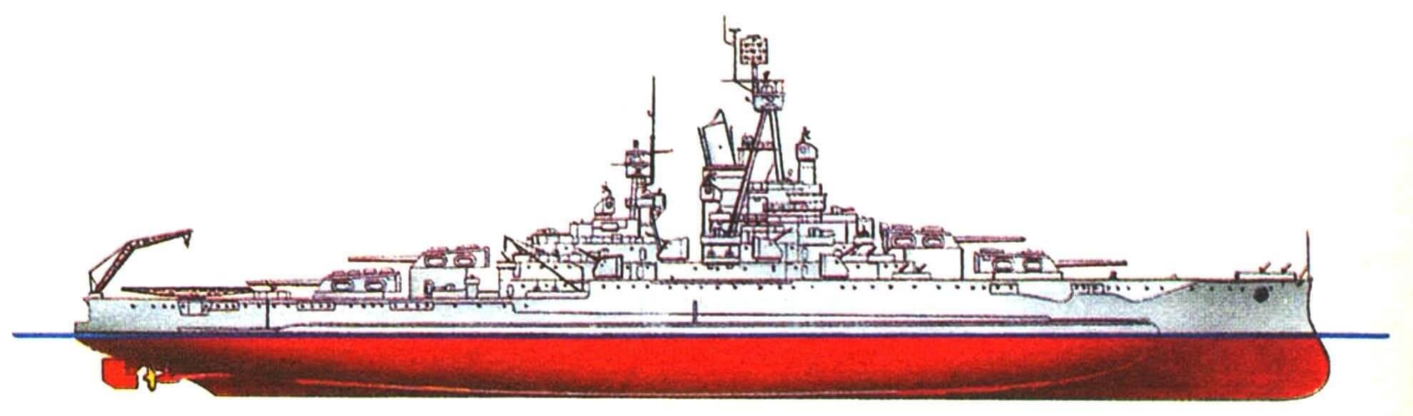 212. Линейный корабль «НЕВАДА», США, 1916/1945 г. Водоизмещение стандартное 29065 т, полное 35570 т, длина максимальная 175,5 м, ширина с булями 32,9 м, осадка 8,7 м. Мощность двухвальной турбинной установки 25000 л.с., скорость 20,3 уз. Броня: пояс до 343 мм, башни до 457 мм, палубы до 160 мм, рубка 406 мм. Вооружение: десять 356-мм орудий, шестнадцать универсальных 127-мм пушек, сорок 40-мм и тридцать шесть 20-мм зенитных автоматов. Внешний вид корабля показан по состоянию на 1945 г.