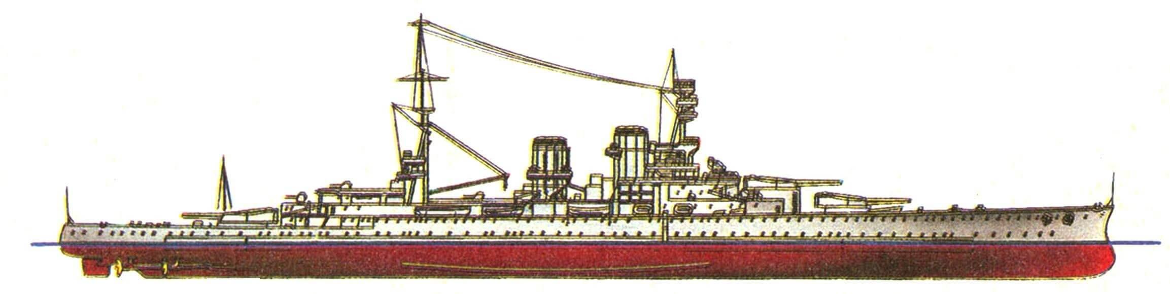 207. Линейный нрейсер «Рипалс», Англия, 1916 г. Заложен в 1915 г., спущен на воду в 1916 г. Водоизмещение нормальное 27500 т, полное 30800 т, длина максимальная 242 м, ширина 27,4 м, осадка 7,8 м. Мощность четырехвапьной турбинной установки 112000 л.с., скорость 32 уз. Броня: главный пояс 152 мм, в оконечностях — 102—37 мм, впоследствии утолщен до 229 мм, верхний пояс 152 мм (после модернизации), башни 280 мм, барбеты 178 мм, палубы: 25+75 мм. Вооружение: шесть 381 -мм и семнадцать 102-мм орудий, две 76-мм зенитки. Всего построено 2 единицы: «Рипалс» и «Ринаун» (оба в 1916 г.).