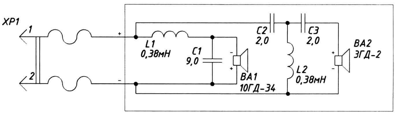 Принципиальная схема подключения динамиков и элементов частотного фильтра