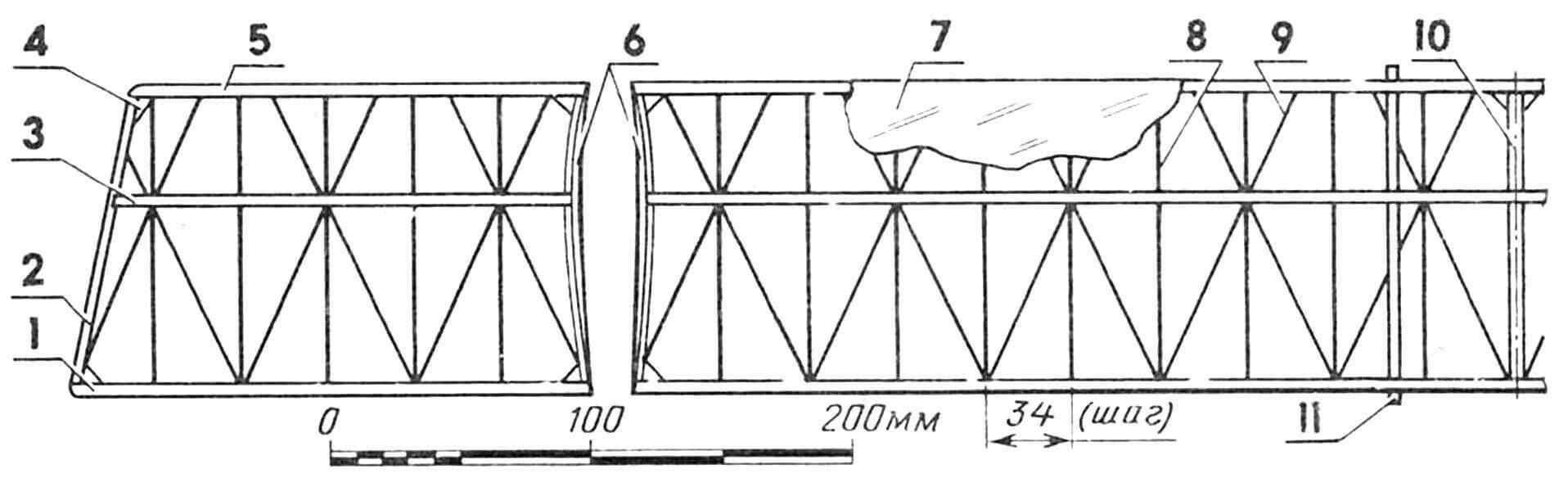 Рис. 3. Крыло: 1 — задняя кромка (сосна 6x2 мм); 2 — законцовка (липа, шпон 2 мм); 3 — лонжерон (сосна 6x1,5 мм); 4 — косынка (липа, шпон 1,2 мм); 5 — передняя кромка (сосна 3x5 мм); 6 — стыковочная нервюра (липа, шпон 1,2 мм); 7 — обшивка (наполненный лавсан 0,015 мм); 8— прямая нервюра (липа, шпон 0,8 мм); 9 — косая нервюра (липа, шпон 0,8 мм); 10 — центральная нервюра (липа, шпон 2 мм); 11 — ложемент (сосна 3x3 мм; привязывать после обтяжки крыла). Стенка лонжерона — липовый шпон 0,8 мм на ушке крыла, шпон 1,2 мм по центроплану. Ушко пристыковывается к центроплану после обтяжки крыла без усилений на эпоксидной смоле.