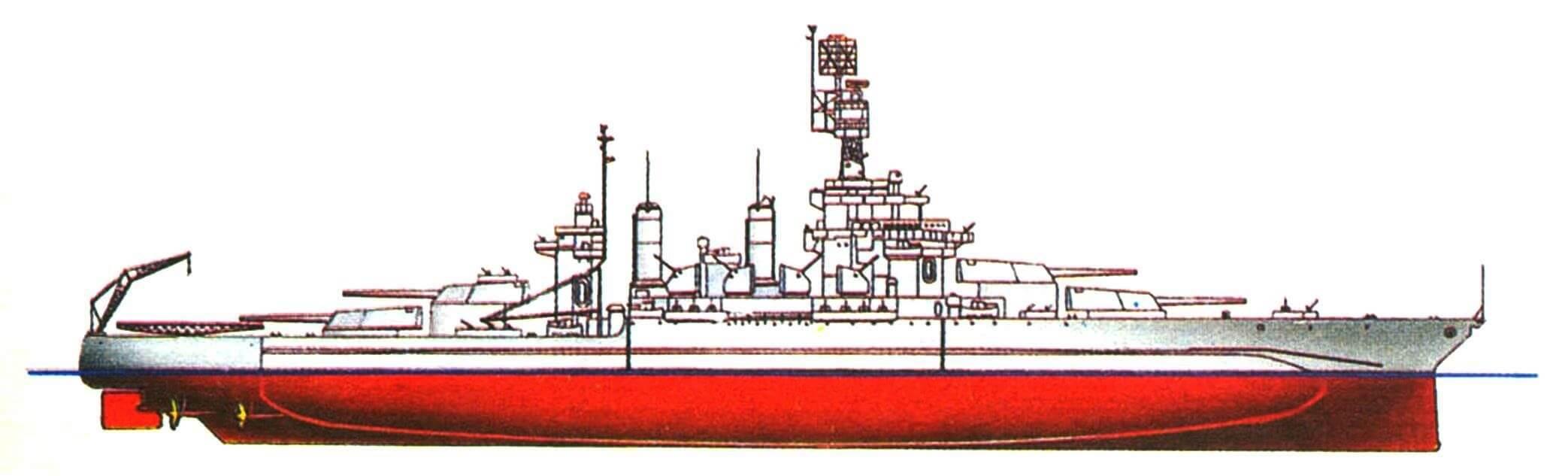 213. Линейный корабль «МЭРИЛЕНД», США, 1921/1945 г. Водоизмещение стандартное 34700 т, полное 41000 т, длина максимальная 182,9 м, ширина 33 м, осадка 9,2 м. Мощность четырехвальной турбоэлектрической установки 29500 л.с., скорость 22 уз. Броня: пояс до 343 мм, башни до 457 мм, палубы до 178 мм, рубка 406 мм. Вооружение: восемь 406-мм и шестнадцать 127-мм орудий, сорок 40-мм и тридцать семь 20-мм автоматов. Внешний вид корабля показан по состоянию на 1945 г.