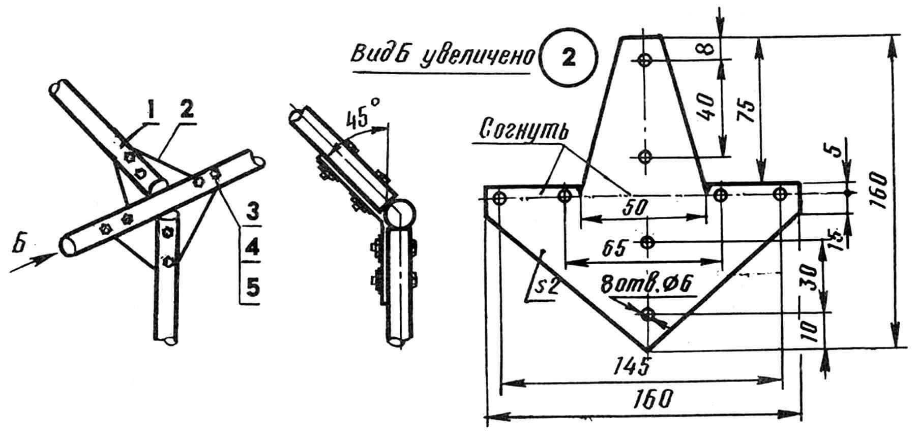 Узел на трубах, но без муфт: 1 — составляющая остова теплицы (отрезок полудюймовой стальной водогазопроводной трубы), 2 — пластина крепежная (из 2-мм Ст3), 3 — болт М6, 4 — шайба Гровера, 5 — гайка М6.