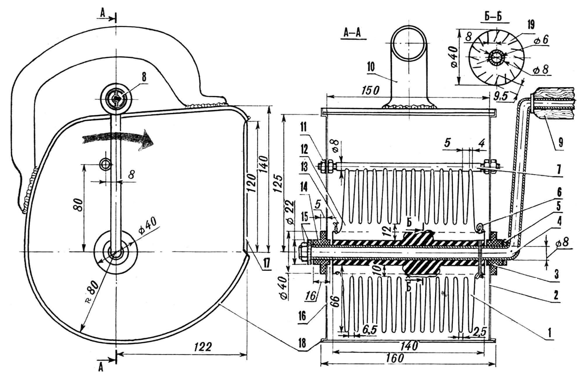 Машинка-«растворомет»: 1 — гребенка (из стальной пластины 66x140 мм толщиной 0,3 мм), 2 — правая щека корпуса, 3, 14 — втулки-подшипники, 4 — ручка-ось (трубка ø 8 мм, сталь), 5 — шайба, 6 — шплинт, 7 — поперечина-ударник (шпилька ø 8 мм), 8 — шайба, 9 — деревянная рукоятка, 10 — ручка машинки (согнута из жести), 11 — гайки крепления ударника, 12 — гребенка (вариант из стальной пластины толщиной 0,4 мм), 13 — проволочная скрутка гребенок, 15 — гайки фиксации ручки-оси, 16 — левая щека корпуса, 17 — окно (на разрезе условно не показано), 18 — опоясывающая полоса корпуса, 19 — осевой цилиндр гребенок (последние на сечении Б-Б условно не показаны).