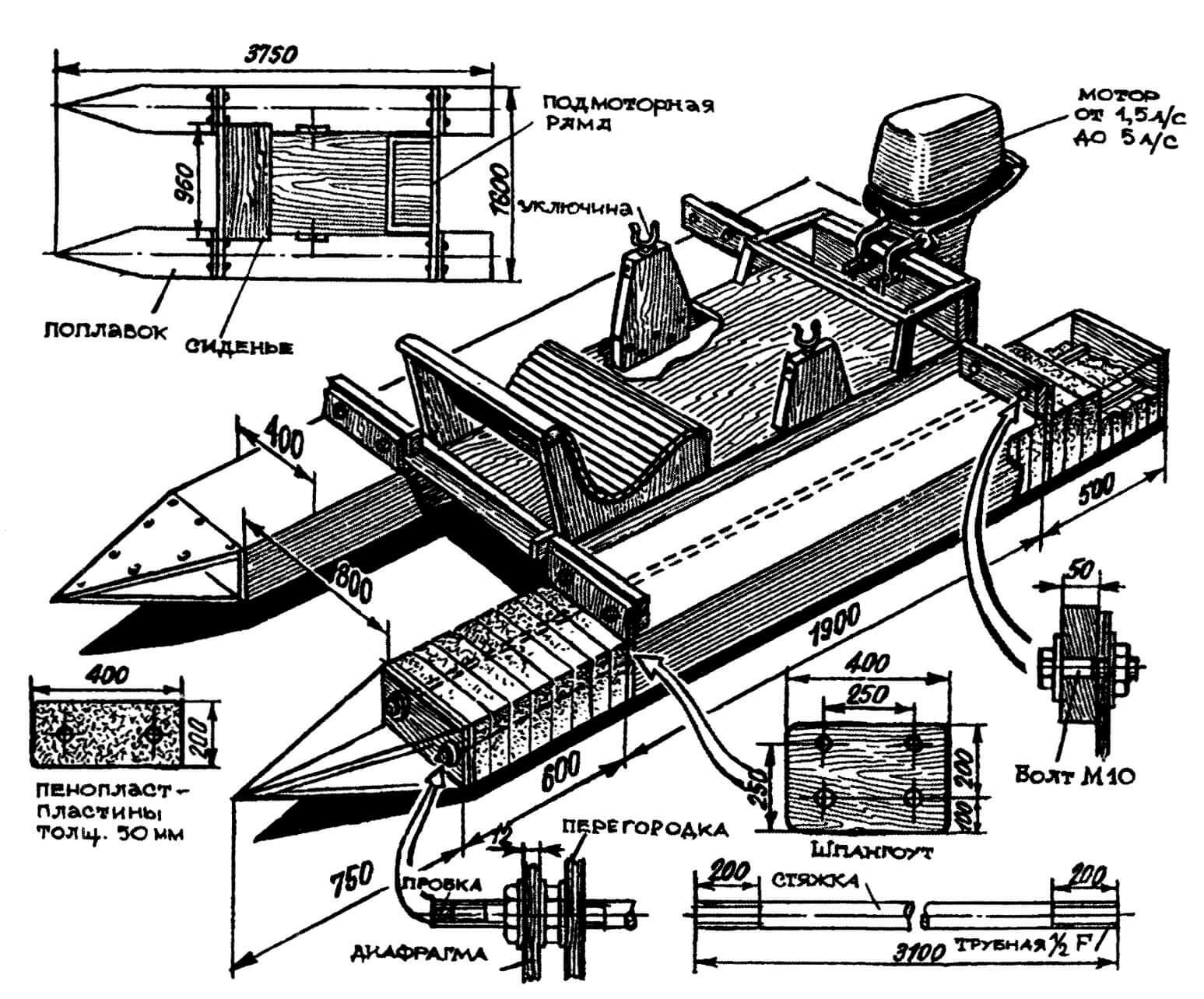 Легкий катамаран А. Копылова с поплавками, собранными из пенопластовых пластин («М-К»№ 9-1974)