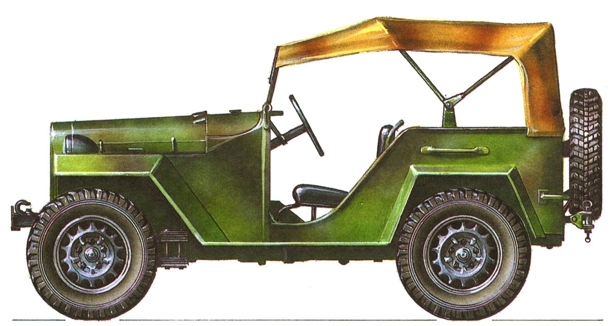 ГАЗ-67Б в камуфляже в период испытаний на НИБТПолигоне летом 1943 г.