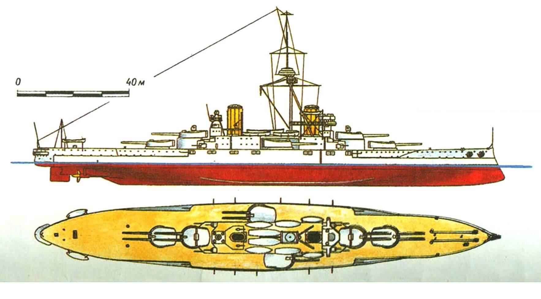 193. Линейный корабль «Сан-Паулу», Бразилия, 1910 г. Заложен в 1907 г., спущен на воду в 1908 г. Водоизмещение нормальное 19 300 т, полное 21 200 т, длина наибольшая 165,5 м, ширина 25,3 м, осадка 7,6 м. Мощность турбин 23 500 л.с., скорость 21 уз. Броня: главный пояс, верхний пояс и каземат вспомогательной артиллерии 229 мм, пояс в оконечностях 102—152 мм, башни 305— 229 мм, броневая палуба 37—51 мм, рубка 305 мм. Вооружение: двенадцать 305-мм и двадцать два 120-мм орудия. Всего построено 2 корабля: «Сан-Паулу» и «Минас Жераис» (1910 г.).