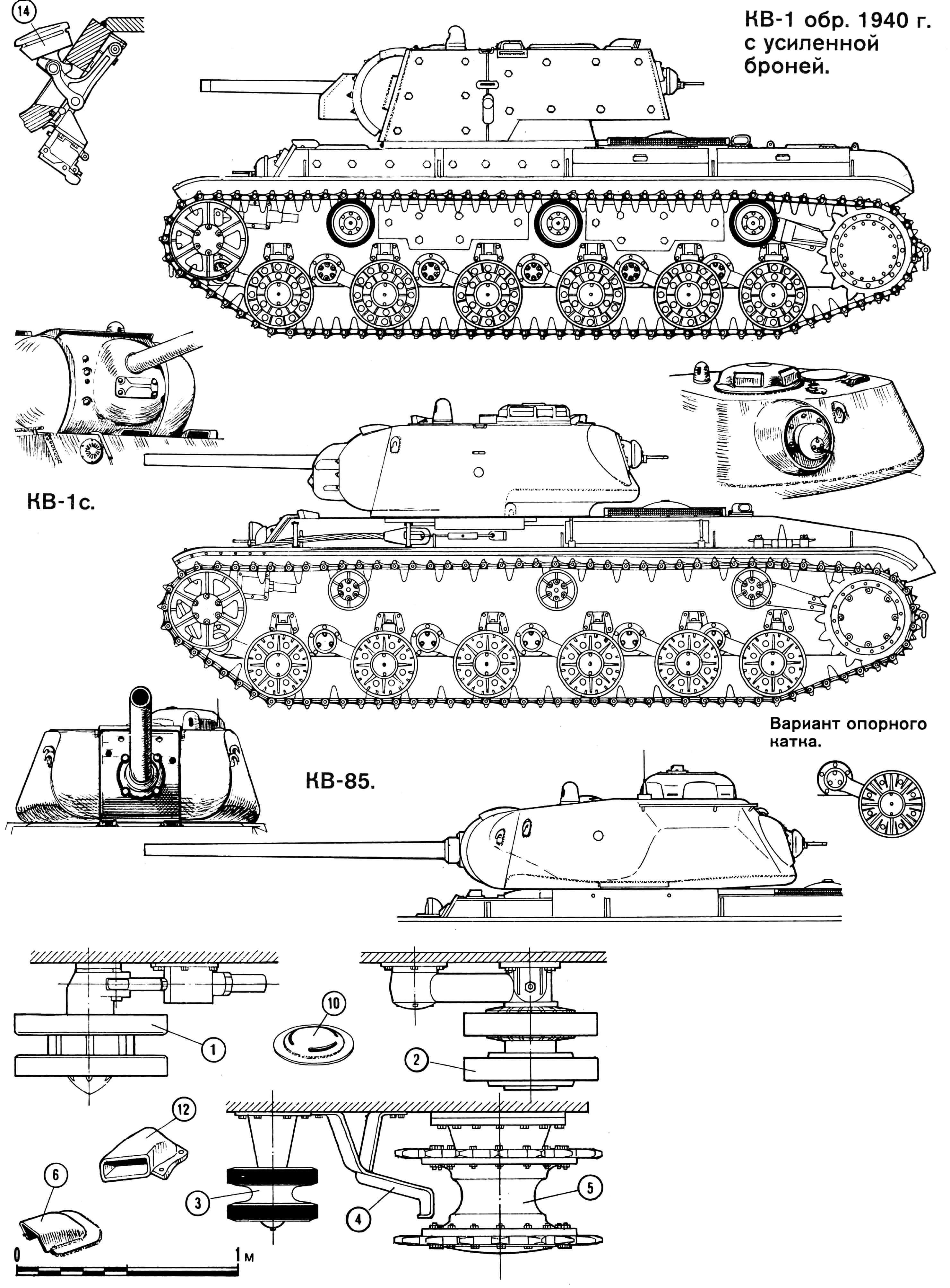 Тяжелый танк КВ-1: 1 — направляющее колесо, 2 — опорный каток, 3 — поддерживающий каток, 4 — очиститель, 5 — ведущее колесо, 6 — броневые колпаки приборов наблюдения, 7 — бронеколпак перископического прицела, 8 — пробка заливной горловины переднего топливного бака, 9 — посадочный люк стрелка-радиста, 10 — броневой колпак вентилятора, 11 — башенный люк, 12 — выхлопная труба, 13 — прибор наблюдения механика-водителя, 14 — крышка смотрового люка механика-водителя.