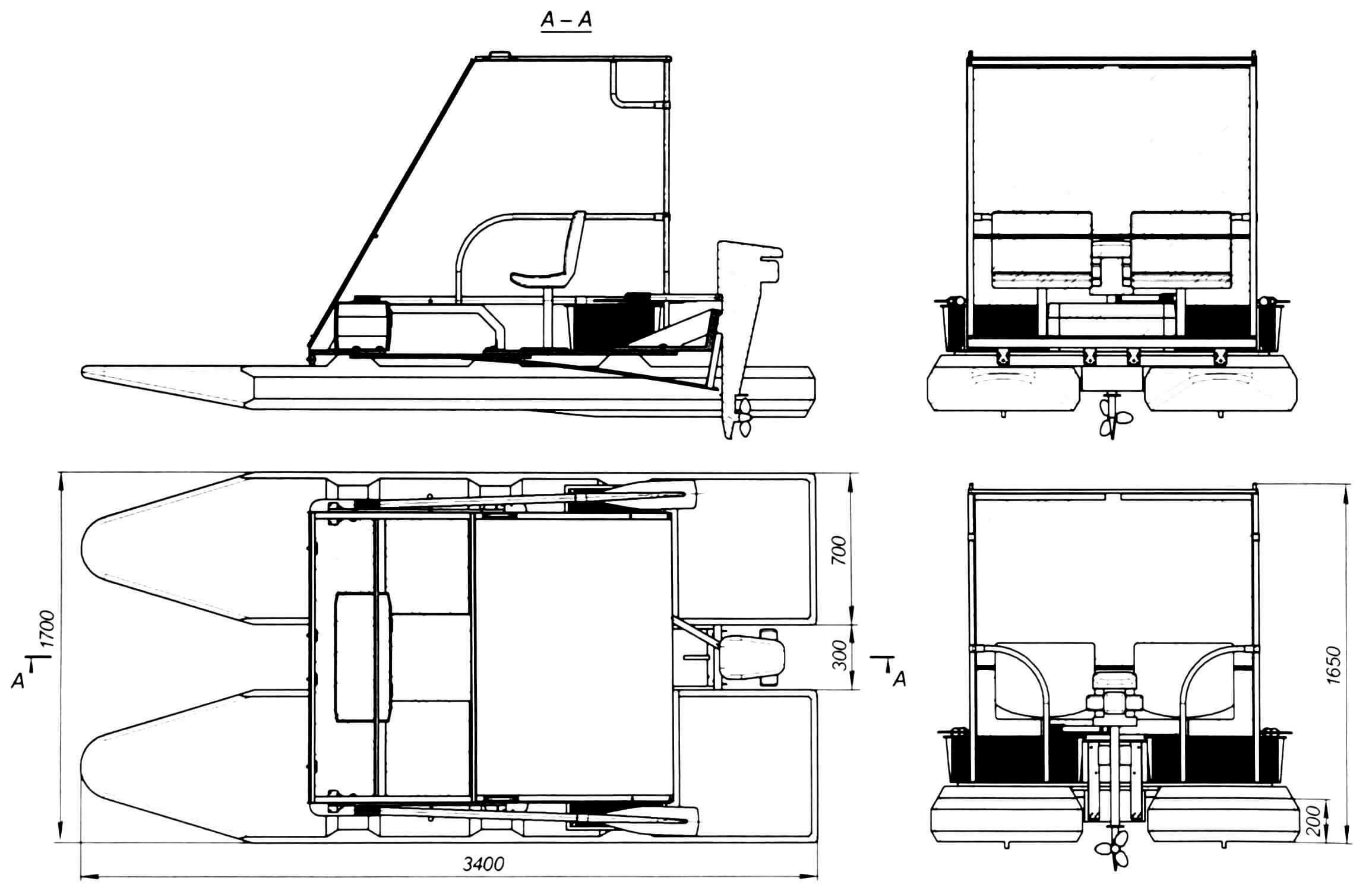 Двухместный катамаран со складной кабиной