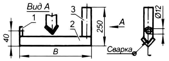 Кронштейн в сборе: 1 - ушко (сталь, толщина 4-5 мм); 2 - кронштейн (стальной «уголок»); 3 - держатель ручки носилок (стальная труба ø 42-51 мм); В - размер по месту