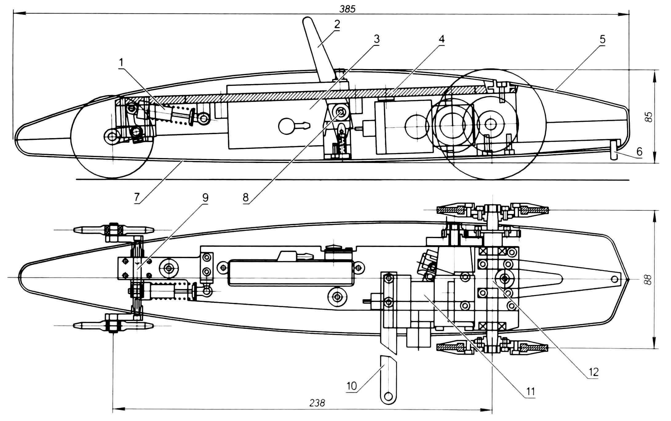 Автомодель Junior 2.1: 1 - амортизатор переднего моста; 2 - «антенна» остановочного устройства; 3 - топливный бак; 4 - моторная рама; 5 - верхний обтекатель; 6 - «шпора» (антиопрокидывающее устройство); 7 - нижний обтекатель; 8 - остановочное устройство; 9 - передний мост; 10 - кордовая планка; 11 - двигатель; 12 - задний мост с редуктором