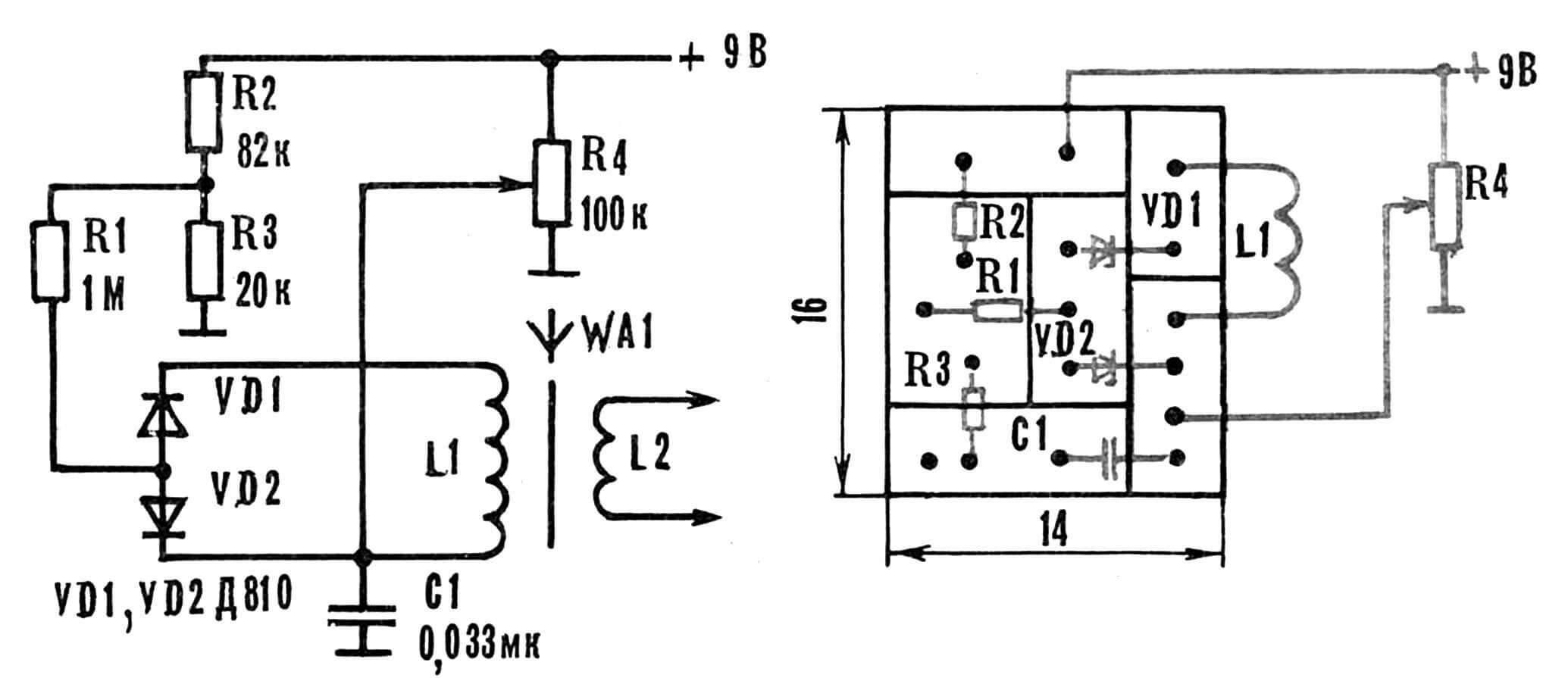 Рис. 2. Принципиальная электрическая схема ЭКПЕ, рекомендуемая для самодельных приемников.