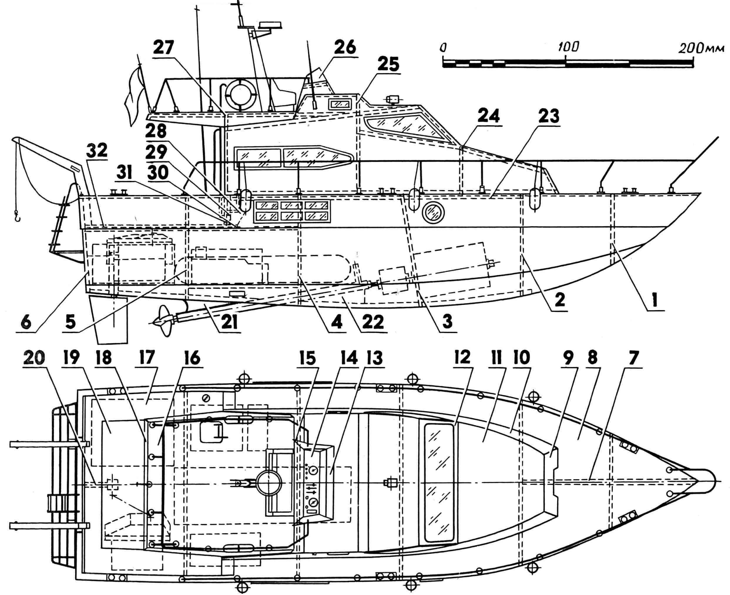 Полукопия морского прогулочного катера «Джерси»: 1 — носовой шпангоут (фанера толщиной 3 мм), 2—5 — промежуточные шпангоуты (фанера толщиной 3 мм), 6 — транец (фанера толщиной 4 мм), 7 — вставка носовой оконечности (фанера толщиной 3 мм), 8 — палуба (фанера толщиной 1,5 мм), 9 — передняя стенка надстройки (фанера толщиной 3 мм), 10 — стенка надстройки (тонкий плотный картон), 11 — передняя крыша надстройки (фанера толщиной 1,5 мм), 12 — рама переднего окна надстройки (фанера толщиной 3 мм), 13 — передняя стенка ограждения мостика (тонкий плотный картон), 14 — приборная панель (фанера толщиной 1,5 мм), 15 — боковая стенка ограждения мостика (тонкий плотный картон), 16 — мостик (фанера толщиной 1,5 мм), 17 — задняя часть палубной обшивки (фанера толщиной 1,5 мм), 18 — задний свес мостика (фанера толщиной 1,5 мм), 19 — люк доступа к аппаратуре и мотоустановке (фанера толщиной 1,5 мм), 20 — кронштейн колодца баллера руля (фанера толщиной 3 мм), 21 — косынка дейдвуда (фанера толщиной 1.5 мм), 22 — внутренняя косынка дейдвуда (фанера толщиной 3 мм), 23 — стрингер корпуса (сосновая рейка сечением 3x3 мм), 24—25 — переборки надстройки (фанера толщиной 3 мм), 26 — остекление мостика (целлулоид толщиной до 1 мм), 27 — задняя стенка надстройки (фанера толщиной 3 мм), 28 — косынка (фанера толщиной 1,5 мм), 29 — планка «замка» (рейка сечением 3x3 мм), 30 — накладной стрингер (сосновая рейка сечением 2x5 мм), 31 — внутренний стрингер (сосновая рейка сечением 4x3 мм), 32 — обрамление (сосновая рейка сечением 2x5 мм).