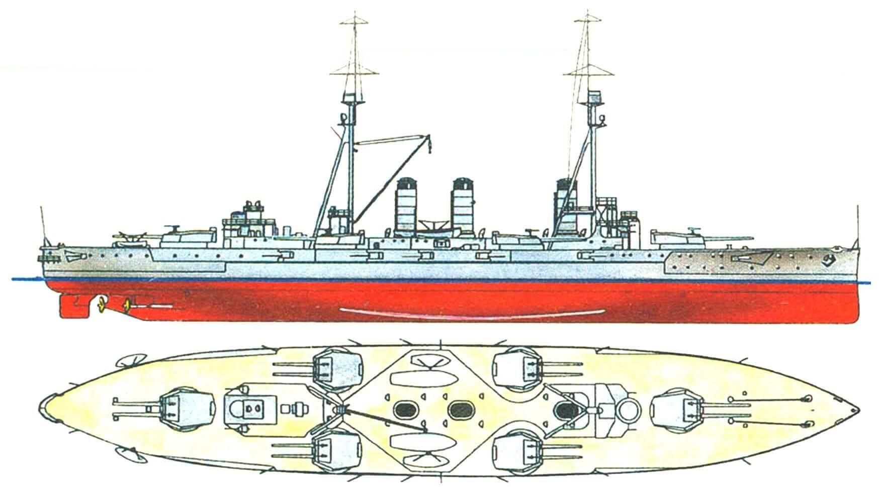 196. Линейный корабль «КАВАЧИ», Япония, 1912 г. Заложен в 1909 г., спущен на воду в 1910 г. Водоизмещение нормальное — 21 500 т, полное — 20 800 т. Длина наибольшая — 160,6 м, ширина — 25,7 м, осадка — 8,4 м. Мощность турбин — 25 000 л.с., скорость — 20 узлов. Броня: главный пояс в центральной части — 305— 203 мм, в оконечностях — 102 мм, верхний пояс — 203 мм, каземат вспомогательной артиллерии — 152 мм, башни и барбеты — 280 мм, броневая палуба — 51—31 мм, рубка — 254 мм. Вооружение: двенадцать 305-мм, десять 152-мм, восемь 120-мм и шестнадцать 80-мм (в том числе четыре зенитных) орудий. Всего построено два корабля: «Кавачи» и «Сетцу» (1912 г.).