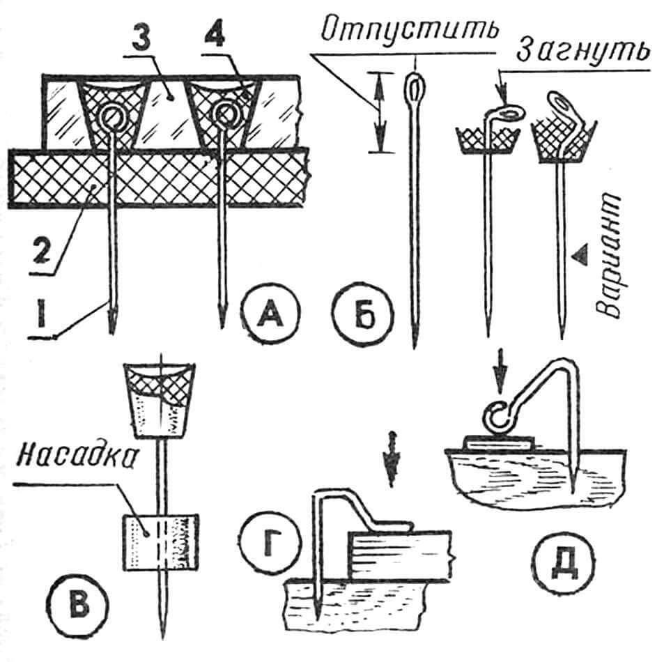 Изготовление и использование модельных булавок. А — классический вариант на базе обычных швейных булавок: 1 — булавка, 2 — подложка из листа твердой резины или полиэтилена, 3 — заливочная форма из листового оргстекла, 4 — головка из эпоксидной смолы. Б — подготовка швейных иголок перед заливкой на их верхних концах головок из эпоксидной смолы. В — применение резиновых прижимных насадок на модельных булавках для монтажа тонкостенных бальзовых деталей. Г — применение изогнутых булавок для прижима толстостенных деталей к деревянному стапелю. Д — аналогично Г, но для тонкостенных деталей и реек.