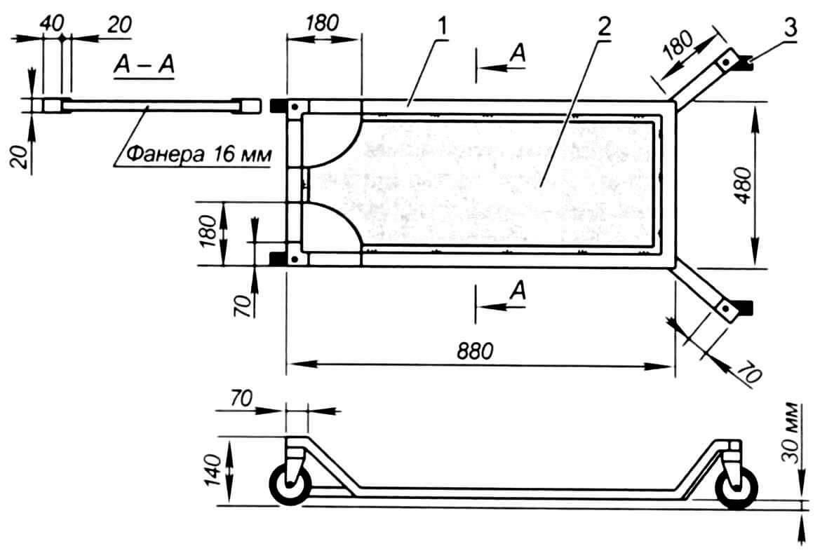 Подкат: 1 - рамка из профиля 20x40 мм; 2 - фанера с металлической окантовкой; 3 - колесо поворотное (4 шт)