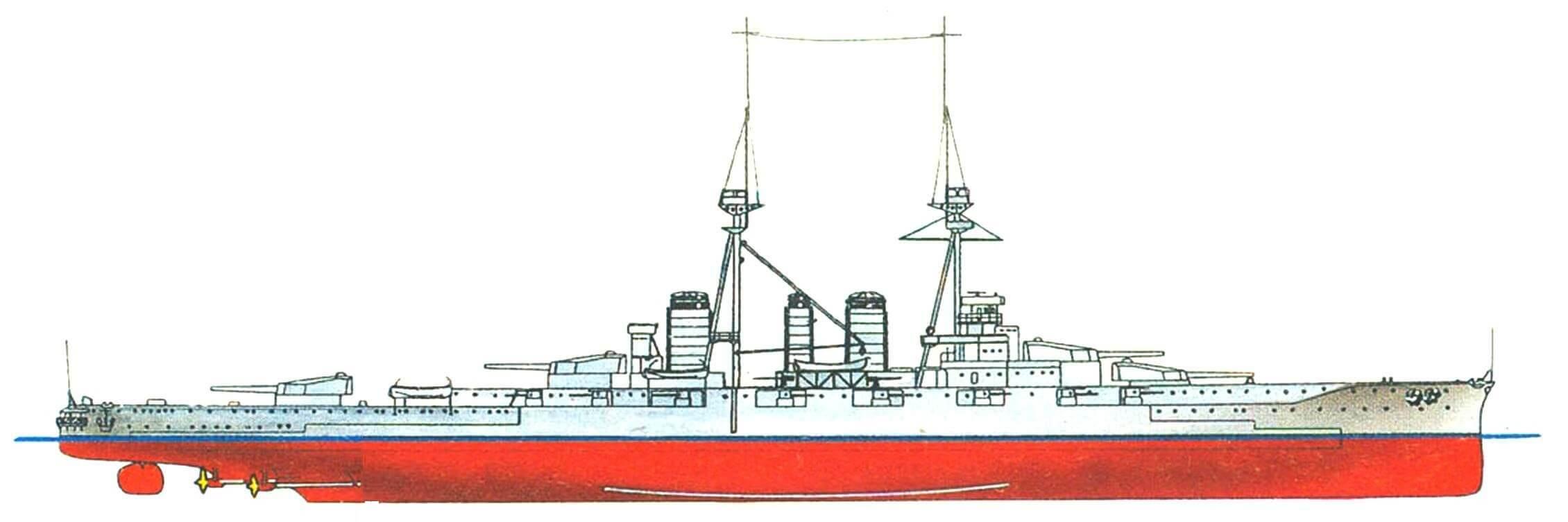 197. Линейный крейсер «КОНГО», Япония, 1913 г. Заложен в 1911 г., спущен на воду в 1912 г. Водоизмещение нормальное — 27 500 т, полное — 32 200 т. Длина наибольшая — 214,5 м, ширина — 28 м, осадка — 8,4 м. Мощность турбин 64 000 л.с., скорость 27,5.узла. Броня: главный пояс — 203 мм, в оконечностях — 102—76 мм, верхний пояс — 203 мм, каземат вспомогательной артиллерии — 152 мм, башни — 229 мм, барбеты — 254 мм, броневая палуба —57— 43 мм, рубка — 254 мм. Вооружение: восемь 356-мм, шестнадцать 152-мм и восемь 80-мм орудий. Всего построено четыре корабля: «Конго», «Хиэй» (1914 г.), «Харуна» и «Кирисима» (оба в 1915 г.).