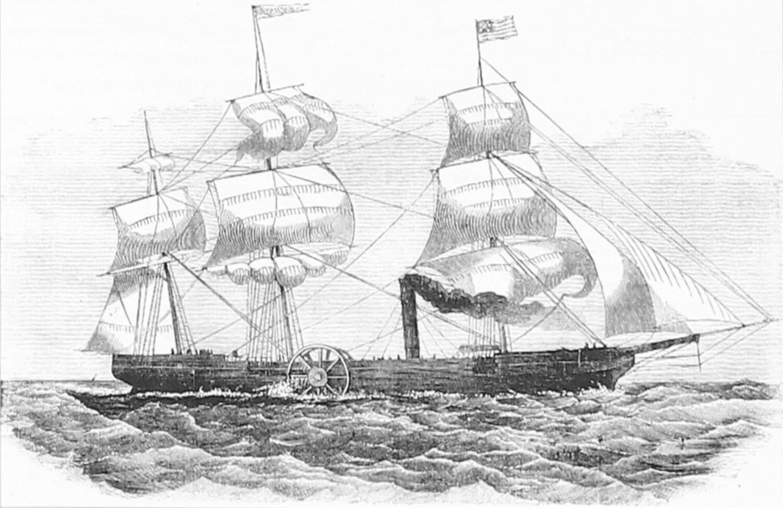Пароход «Саванна» во время плавания через Атлантику (американская гравюра XIX века)