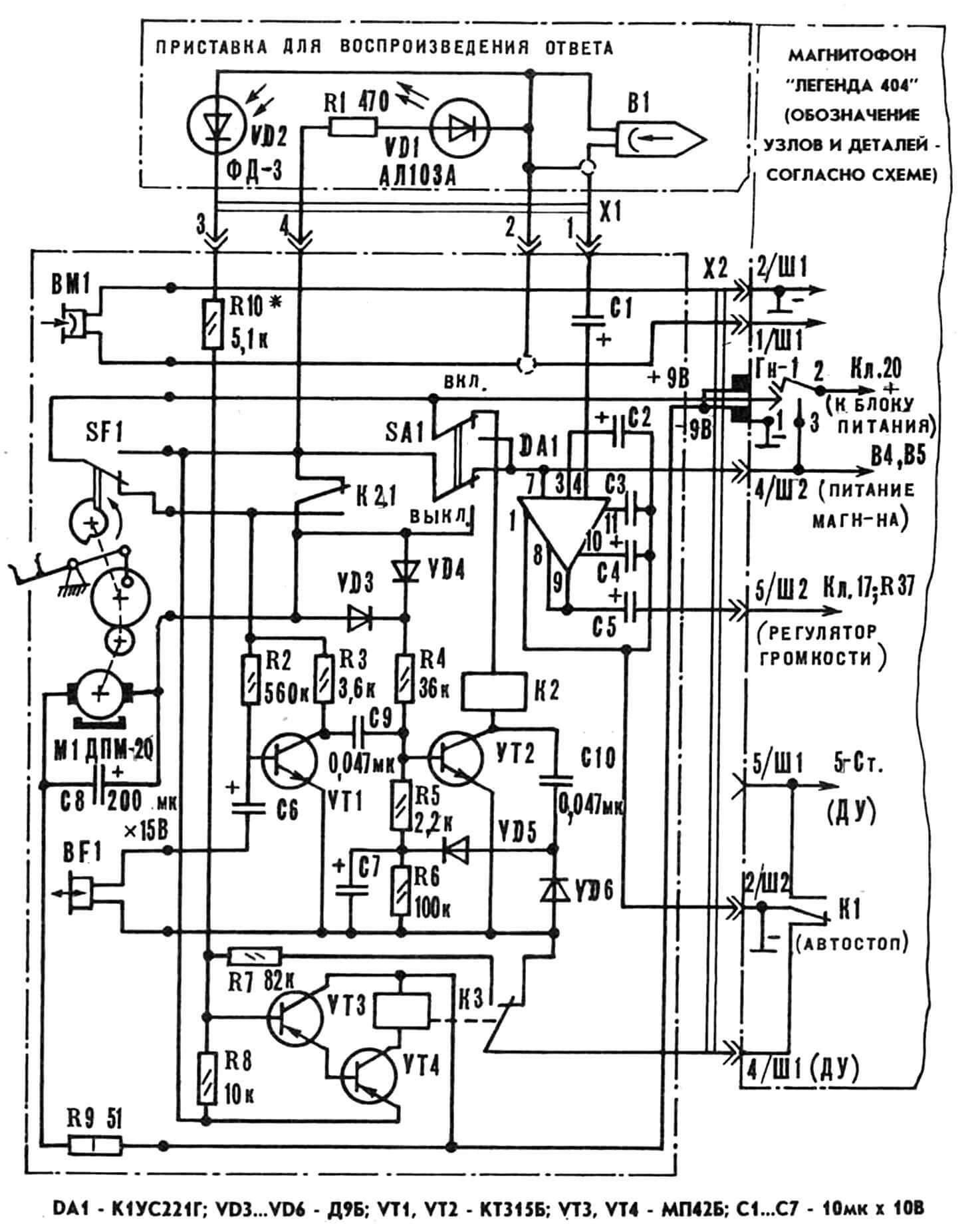 Принципиальная электрическая схема платформы-основания и цепей коммутации.