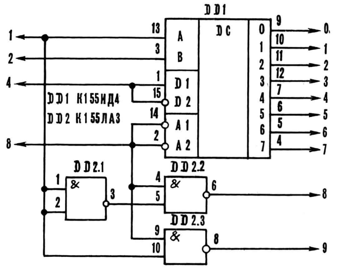 Рис. 4. Схема замены ИМС К155ИД3 на К155ИД4 и К155ЛА3.