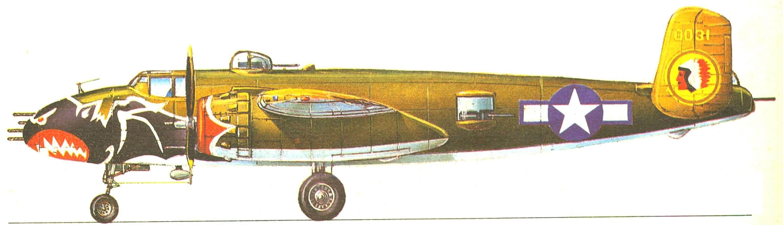 В—25J—32, 499-я эскадрилья «Адские летучие мыши» 345-й бомбардировочной группы ВВС США, июль 1945 года.