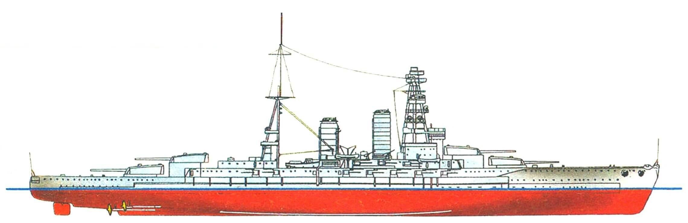 200. Линейный корабль «НАГАТО», Япония, 1920 г. Заложен в 1917 г., спущен на воду в 1919 г. Водоизмещение нормальное — 33 800 т, полное — 38 500 т. Длина наибольшая— 213,4 м, ширина — 29 м, осадка — 9,2 м. Мощность турбин — 80 000 л.с., скорость — 26,5 узла. Броня: главный пояс — 330—229 мм, в оконечностях — 102 мм, верхний пояс — 203 мм, каземат вспомогательной артиллерии — 152 мм, башни и барбеты — 305 мм, броневая палуба — 76— 37 мм, рубка — 305 мм. Вооружение: восемь 406-мм, двадцать 140-мм и четыре 80-мм орудия. Всего построено два корабля: «Нагато» и «Мутцу» (1921 г.).