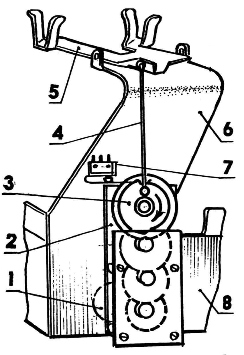 Механизм подъема телефонной трубки: 1 — двигатель, 2 - редуктор (пластины из латуни толщиной 1,2 мм, шестерни от будильника «Янтарь» СЧЗ, оси укорочены), 3 — кулачок (оргстекло), 4 — тяга, 5 — рычаг подъема трубки, 6 — кронштейн, 7 — концевик, 8 — корпус платформы-основания.