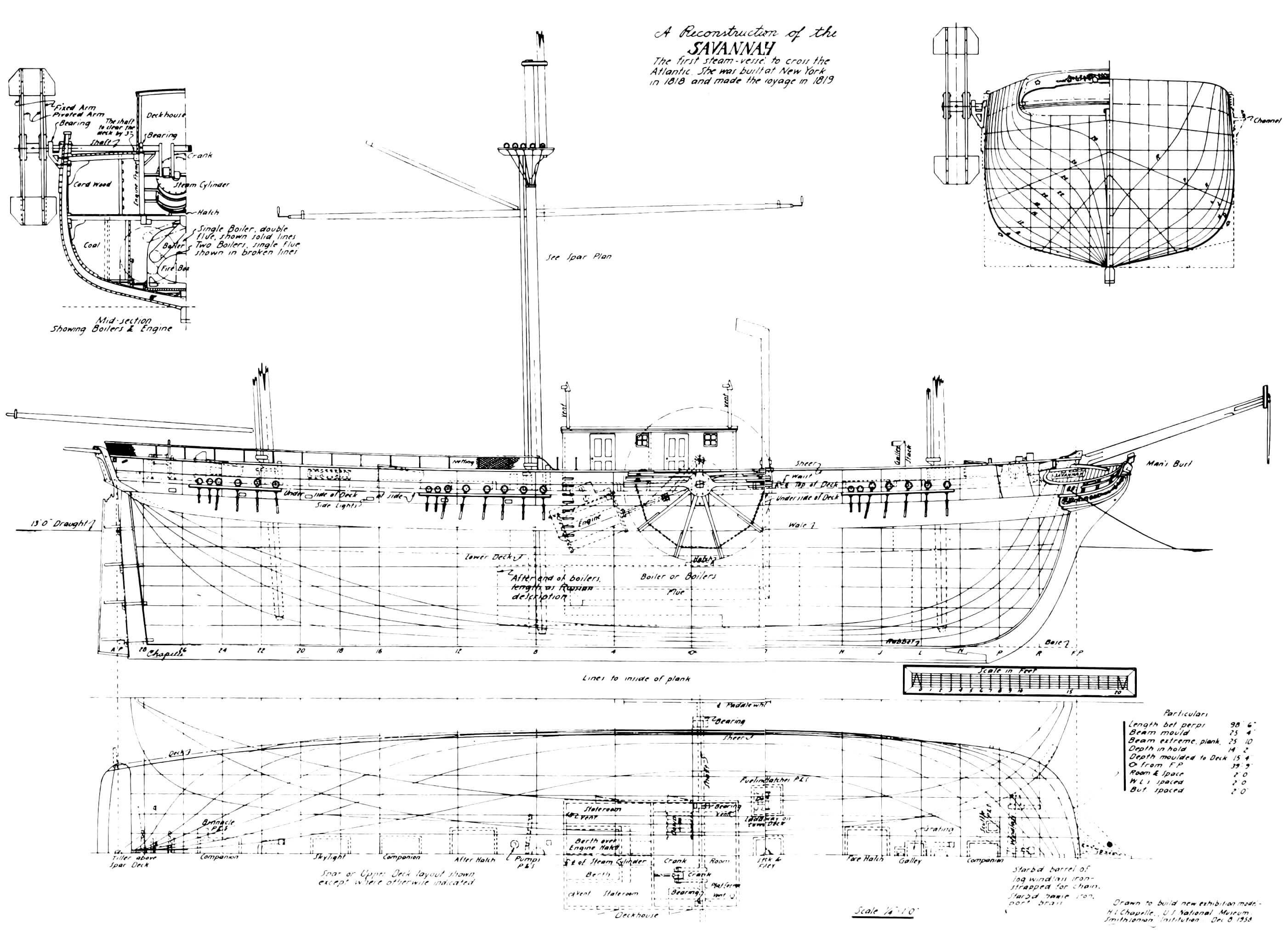 Теоретический чертеж и расчет по миделю пакетбота «Саванна» (реконструкция)
