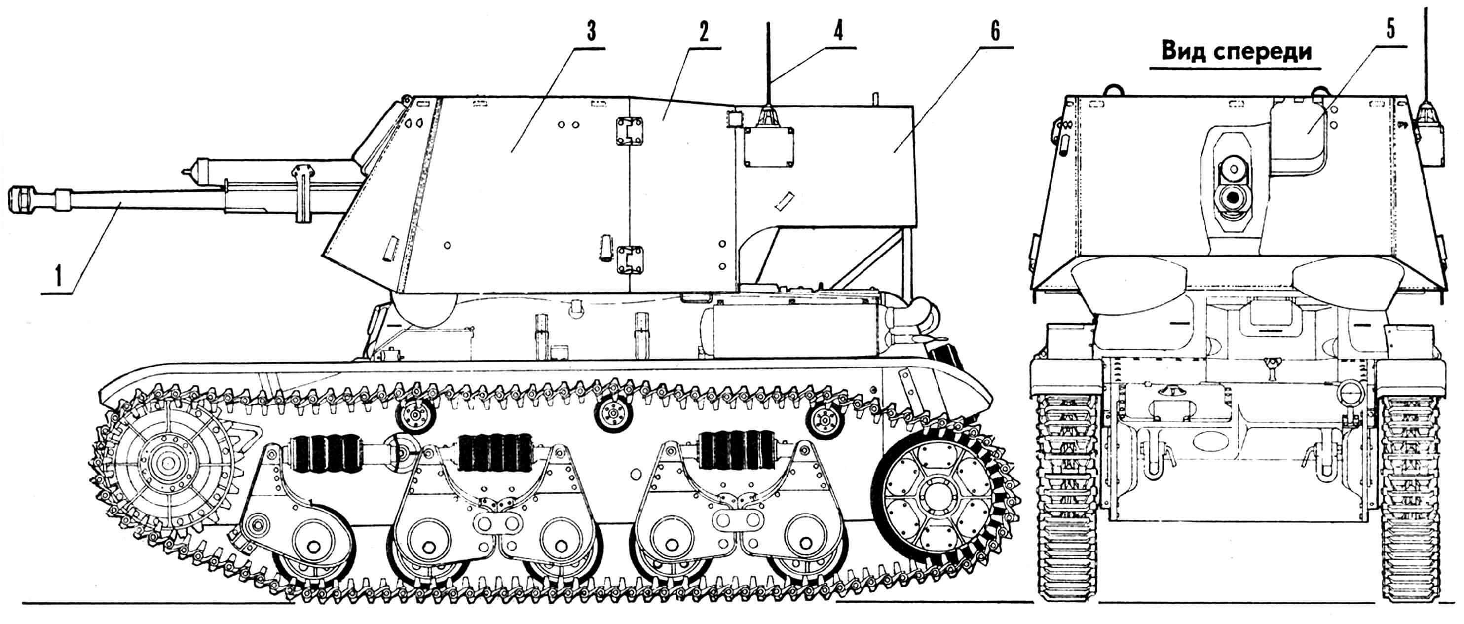 САУ на базе R-35: 1 — 47-мм чешская пушка, 2 — неподвижная броневая рубка, 3 — дверь для посадки экипажа, 4 — антенна радиостанции, 5 — броневая крышка прицела, 6 — ниша для укладки боеприпасов.