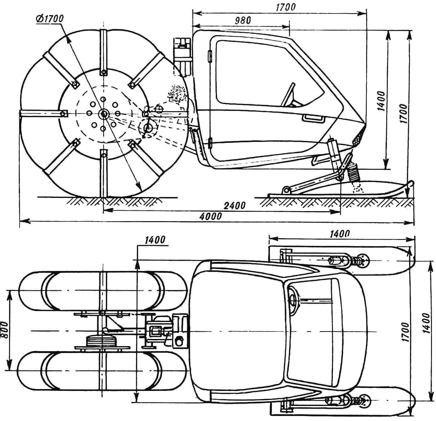 Рис. 1. Комбинированный колесно-лыжный снегоход «Челнок-Т200».