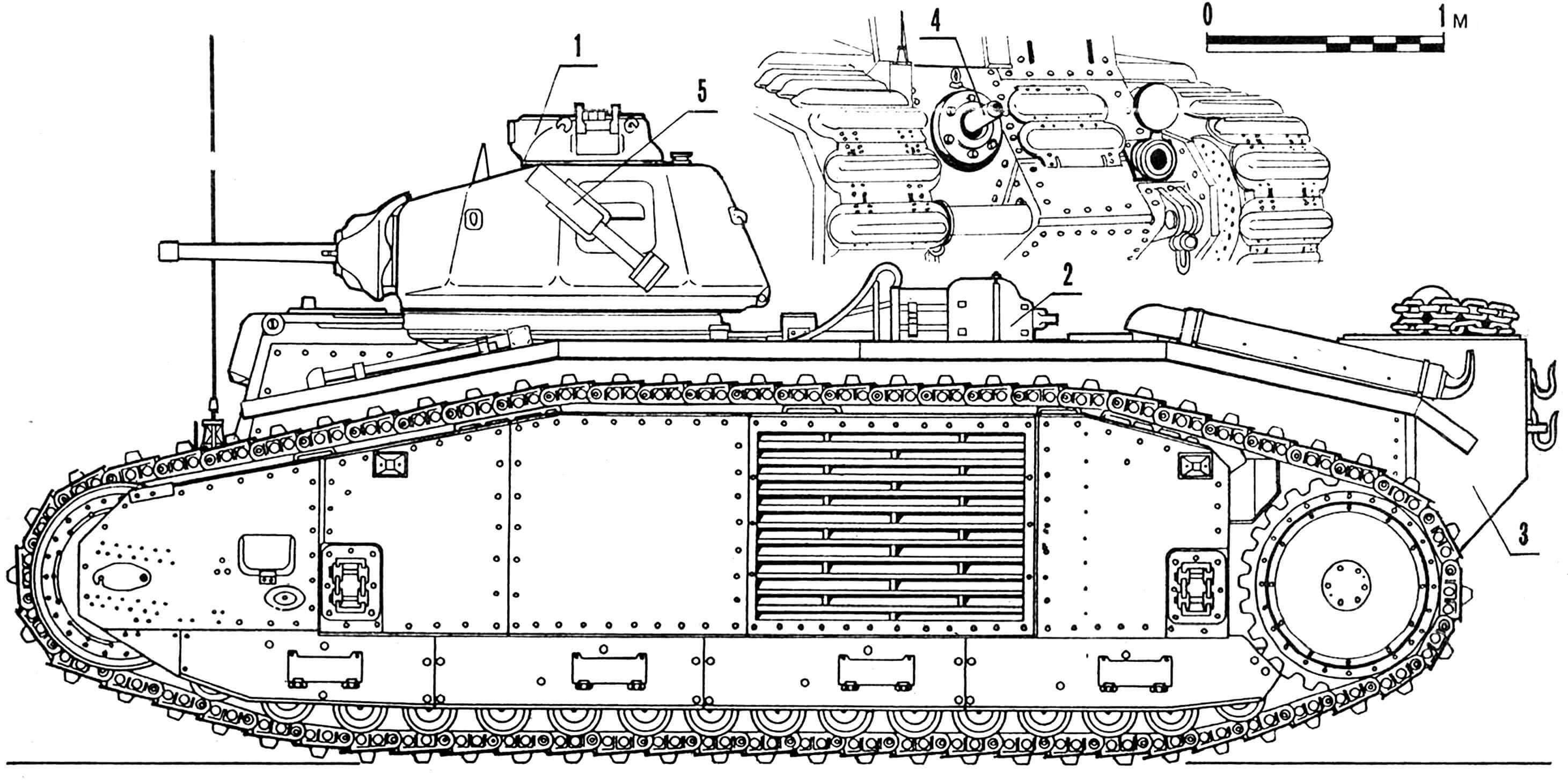 Огнеметный танк В-2: 1 — командирская башенка с переделанным люком, 2 — оборудование для подачи огнесмеси, 3 — бак для огнесмеси, 4 — огнемет, 5 — дымовой гранатомет.