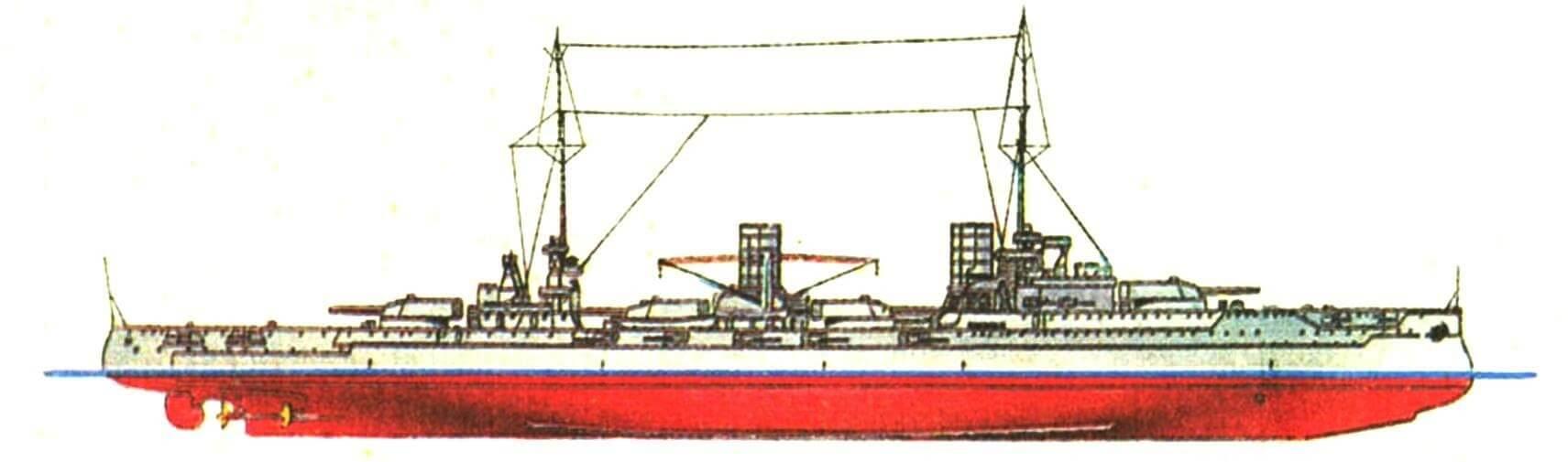 180. Линейный крейсер «ФОН ДЕР ТАНН», Германия, 1911 г. Заложен в 1908 г., спущен на воду в 1909 г. Водоизмещение нормальное 19 370 т, полное 21 700 т. Длина наибольшая 171,1 м, ширина 26,6 м, осадка 9 м. Мощность турбин 50 000 л.с. скорость 25 уз. Броня: пояс 250—80 мм, траверзы 180—100 мм, казематы 150 мм, башни 230—60 мм, рубка 250—80 мм, палуба 50 мм. Вооружение: восемь 280-мм орудий, десять 150-мм орудий, шестнадцать 88-мм пушек, 4 торпедных аппарата.