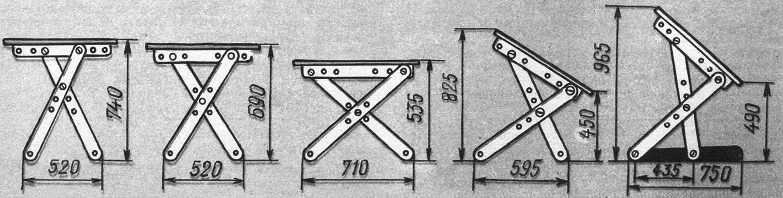 Рис. 2. Варианты трансформирования конструкции.