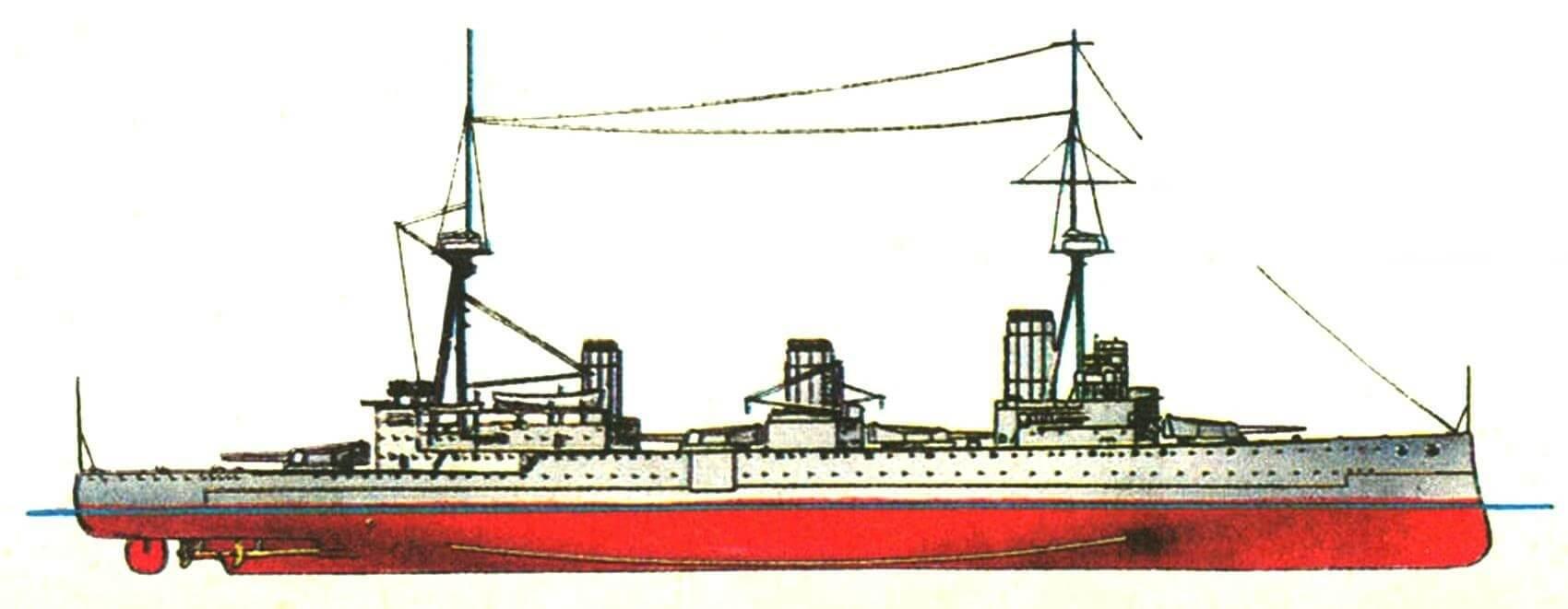 176. Линейный крейсер «Индефатигебл», Англия, 1911 г. Заложен в 1910 г., спущен на воду в 1911 г. Водоизмещение: нормальное 18 500 т, полное 22 100 т. Длина наибольшая 179,8 м, ширина 24,4 м, осадка 8,1 м. Четырехвальная турбинная установка мощностью 43 000 л. с., скорость 25 уз. Броня: пояс 152—102 мм, траверсы 102 мм, палуба 25—63 мм, башни 178 мм, барбеты 178—76 мм, рубка 254 мм. Вооружение: восемь 305-мм и шестнадцать 102-мм орудий, три 457-мм торпедных аппарата. Построено 3 единицы: «Индефатигебл», «Нью-Зиленд» (1912 г.) и «Австралия» (1913 г.).