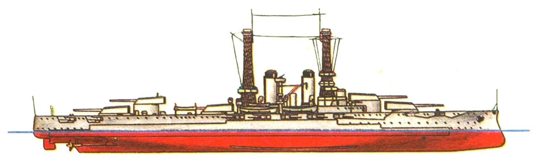 183. Линейный корабль «НЬЮ-ЙОРК», США, 1914 г. Заложен в 1911 г., спущен на воду в 1912 г. Водоизмещение нормальное 27 000 т, полное 28 400 т. Длина наибольшая 174,7 м, ширина 29,1 м, осадка 8,7 м. Мощность машинной установки 28 000 л.с., скорость 21 уз. Броня: главный пояс 305—254 мм, верхний пояс 280—229 мм, каземат 165 мм, башни 356—203 мм, барбеты 305—254 мм, палуба 51 мм, рубка 305 мм. Вооружение: десять 356-мм орудий, двадцать одно 1 27-мм орудие, четыре 533-мм торпедных аппарата. Всего построено 2 корабля: «Нью-Йорк» и «Техас» (1914 г.).