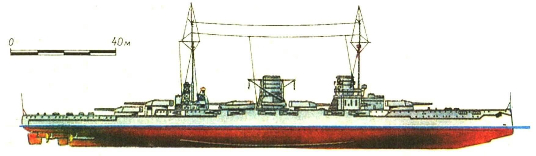 181. Линейный крейсер «МОЛЬТКЕ», Германия, 1912 г. Заложен в 1908 г., спущен на воду в 1910 г. Водоизмещение нормальное 22 616 т, полное 25 300 т. Длина наибольшая 186,5 м, ширина 29,5 м, осадка 9 м. Мощность турбин 52 000 л.с. скорость 25,5 уз. Броня: пояс 270—100 мм, траверзы 200—100 мм, казематы 200—150 мм, башни 230—60 мм, рубка 350—80 мм, палуба 50 мм. Вооружение: как на «Зейдлице». Всего построено 2 единицы: «Мольтке» и «Гебен» (оба 1912 г.).