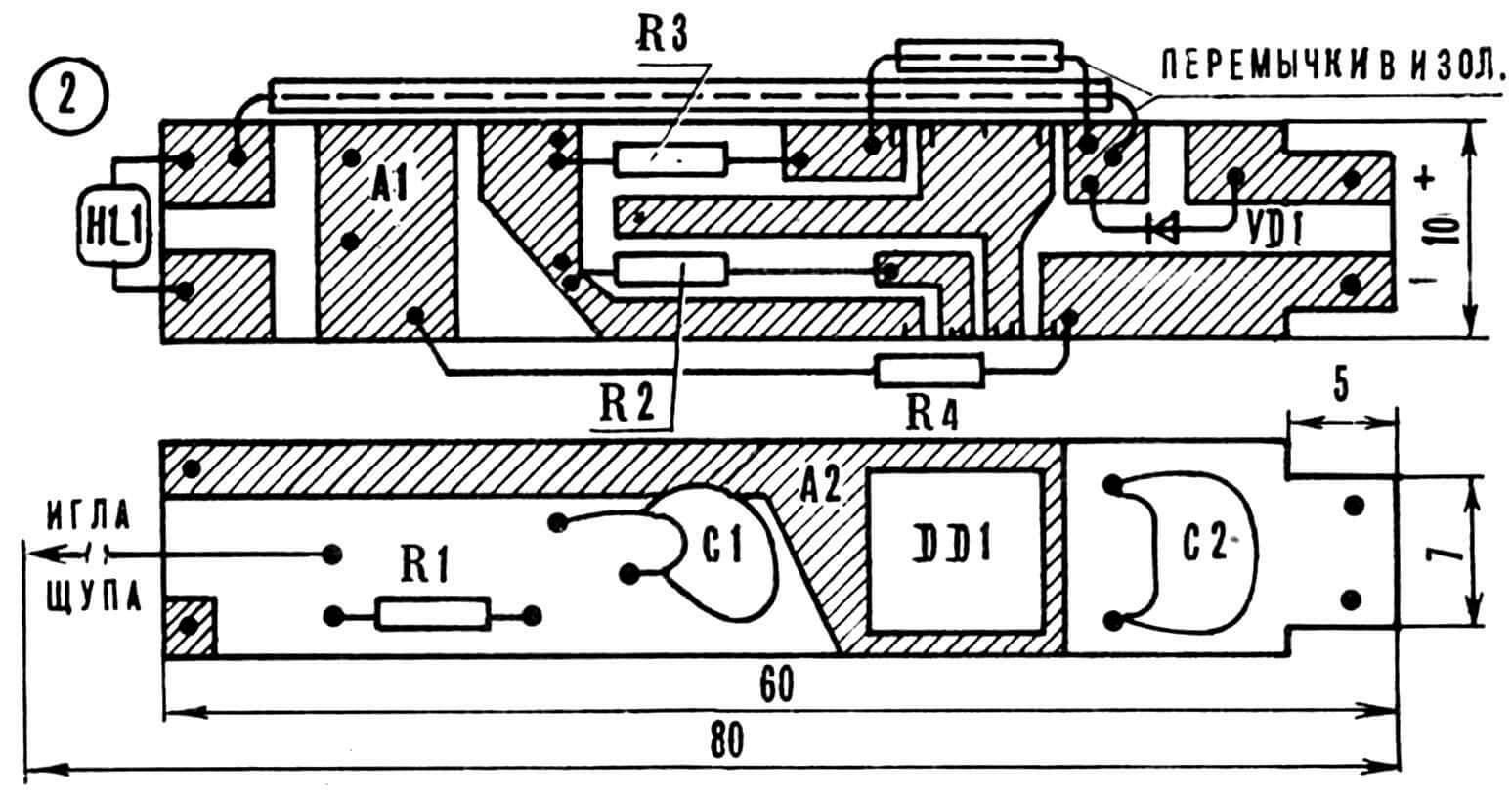 Монтажная плата (двусторонний фольгированный гетинакс) с расположением на ней радиодеталей. Вот он, незаменимый в работе с цифровыми интегральными микросхемами пробник!