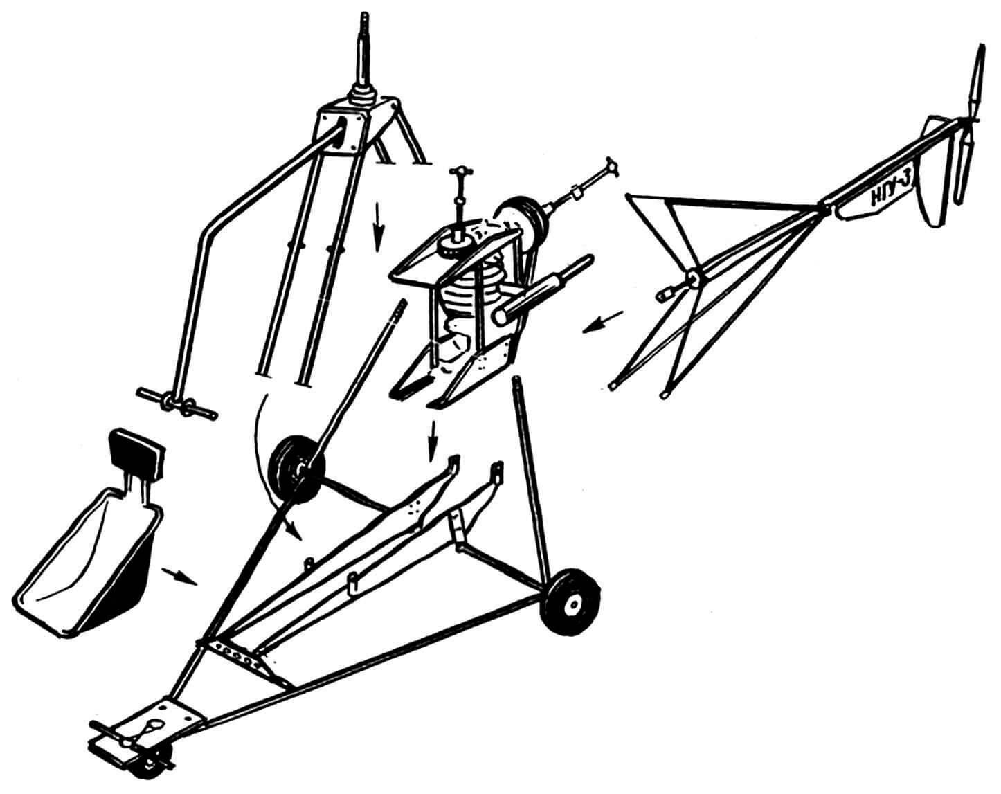 Рис. 3. Компоновка силового каркаса и силового агрегата.