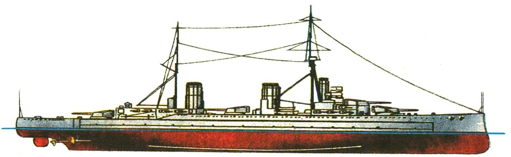 177. Линейный крейсер «ЛАЙОН», Англия, 1912 г. Заложен в 1909 г., спущен на воду в 1910 г. Водоизмещение: нормальное 26 100 т, полное 29 700 т. Длина наибольшая 213,4 м, ширина 27,0 м, осадка 8,4 м. Четырехвальная турбинная установка мощностью 70 000 л. с., скорость 27,5 уз. Броня: пояс 229—102 мм, траверсы 102 мм, палуба 25—63 мм, башни 229 мм, барбеты 229—76 мм, рубка 254 мм. Вооружение: восемь 343-мм и шестнадцать 102-мм орудий, два 533-мм торпедных аппарата. Построено 3 единицы: «Лайон», «Принцесс Ройял» (1912 г.) и «Куин Мэри» (1913 г.).