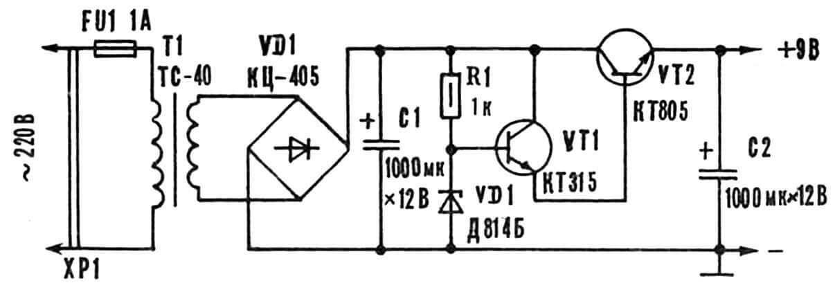 Принципиальная электрическая схема блока электропитания.