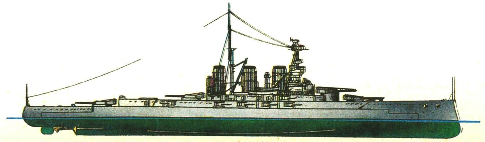 178. Линейный крейсер «Тайгер», Англия, 1914 г. Заложен в 1912 г., спущен на воду в 1913 г. Водоизмещение: нормальное 28 400 т, полное 34 000 т. Длина наибольшая 214,6 м, ширина 27,6 м, осадка 8,7 м. Четырехвальная турбинная установка мощностью 85 000 л.с., скорость 28,5 уз. Броня: пояс 229—102 мм, траверсы 102 мм, палуба 25—75 мм, башни 229 мм, барбеты 229—76 мм, рубка 254 мм. Вооружение: восемь 343-мм и двенадцать 152-мм орудий, четыре 533-мм торпедных аппарата.