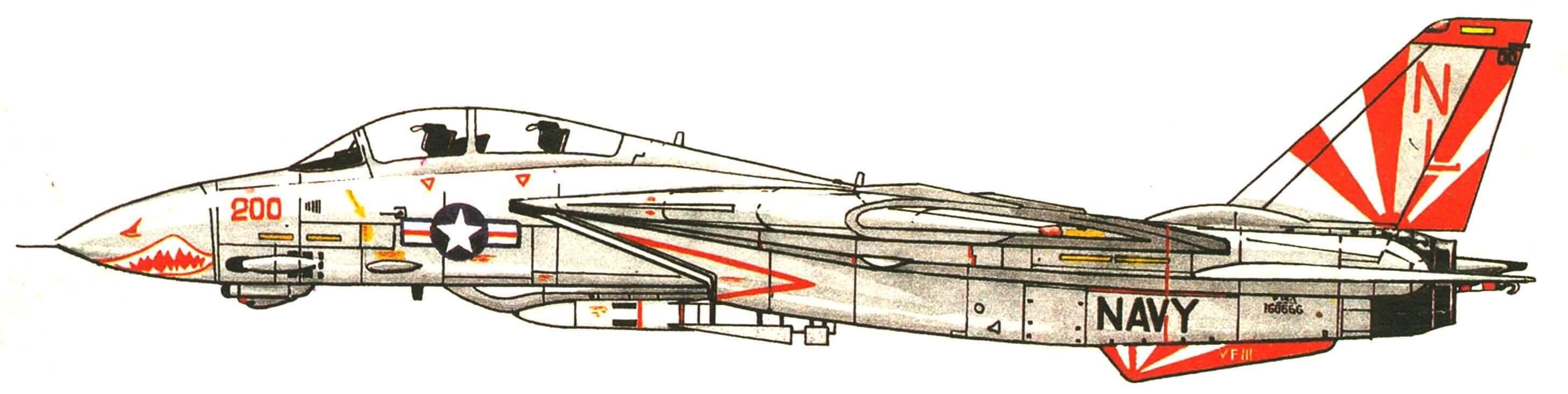 Самолет командира эскадрильи VF-111 «Sundowners». Базируется на авианосце «Caref Winson».