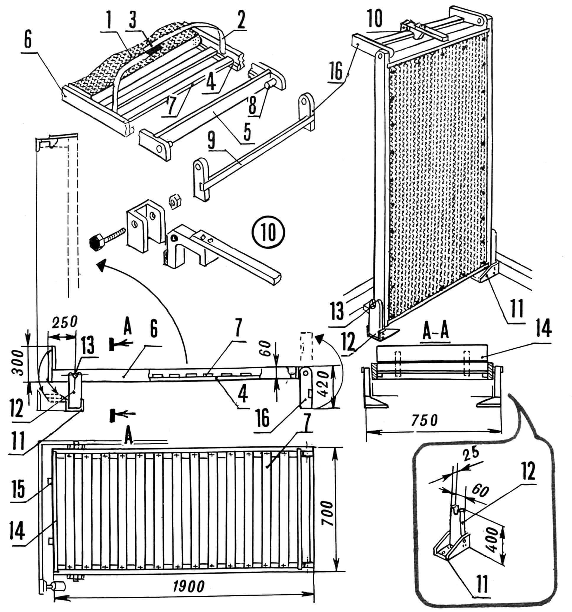 Рис. 1. Откидная кровать: 1 — декоративная зашивка (оргалит, фанера 3x650x1800 мм), 2 — плоский ремень (2 шт.), 3 — застежка «репейник» (2 шт.), 4 — опорная рейка (15x15x1790 мм, 2 шт.), 5 — поперечный элемент каркаса (25x60x670 мм, 2 шт.), 6 — продольный элемент каркаса (брус, 25x60x1900 мм, 4 шт.), 7 — поперечная планка (15x30x650 мм, 13 шт.), 8 — ось задних ножек (ø 30x55 мм, 2 шт.), 9 — планка соединительная (20x30x650 мм), 10 — защелка (фанера толщиной 10...12 мм; дюралюминий толщиной 2...3 мм), 11 — кронштейн (дюралюминий толщиной 3 мм), 12 — ножка (рейка 25x60x400 мм, 2 шт.), 13 — ось передних ножек (ø 30x755 мм), 14 — изголовье (доска 25x240x670 мм), 15 — стойка изголовья (рейка 25x40x300 мм, 2 шт.), 16 — ножка (рейка 25x60x420 мм, 2 шт.).