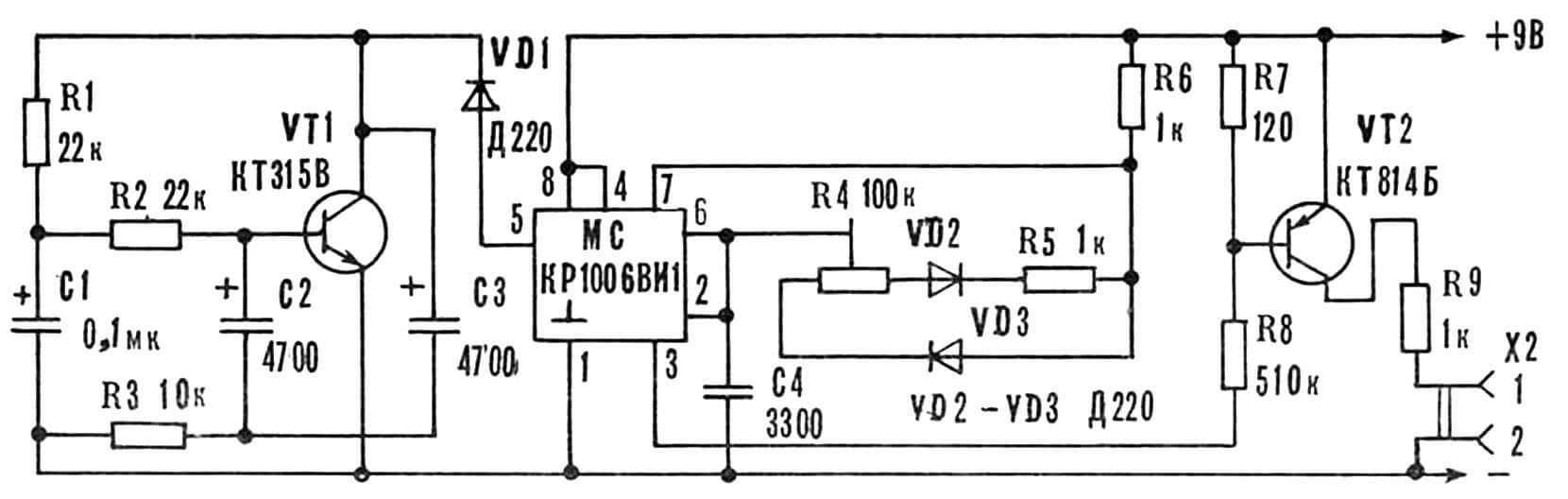 Принципиальная электрическая схема генератора сигнала (типа сирены).