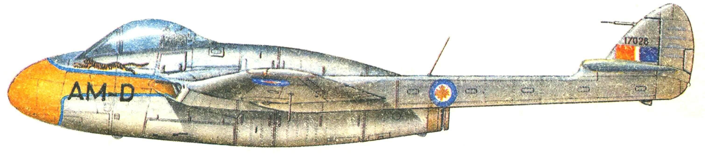 Vampire F.3 410-й эскадрильи Королевских Канадских ВВС