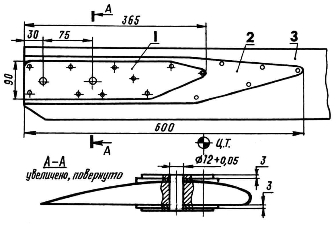 Рис. 5. Конструкция комлевой части лопасти несущего винта: 1 — накладка (сталь 45), 2 — промежуточная накладка (текстолит), 3 — лопасть.