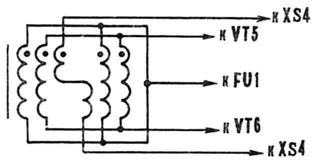 Рис. 5. Соединение обмоток выходного трансформатора.